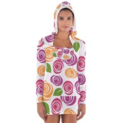 Colorful Seamless Floral Flowers Pattern Wallpaper Background Women s Long Sleeve Hooded T Shirt