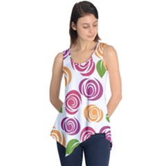 Colorful Seamless Floral Flowers Pattern Wallpaper Background Sleeveless Tunic