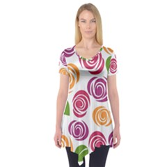 Colorful Seamless Floral Flowers Pattern Wallpaper Background Short Sleeve Tunic