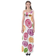 Colorful Seamless Floral Flowers Pattern Wallpaper Background Empire Waist Maxi Dress