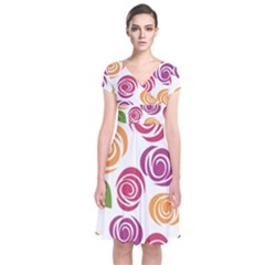 Colorful Seamless Floral Flowers Pattern Wallpaper Background Short Sleeve Front Wrap Dress