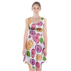 Colorful Seamless Floral Flowers Pattern Wallpaper Background Racerback Midi Dress