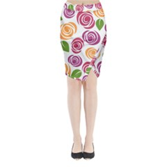 Colorful Seamless Floral Flowers Pattern Wallpaper Background Midi Wrap Pencil Skirt