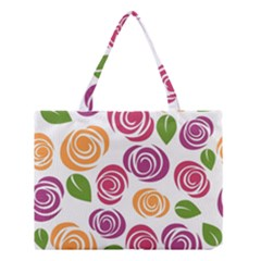 Colorful Seamless Floral Flowers Pattern Wallpaper Background Medium Tote Bag