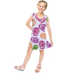 Colorful Seamless Floral Flowers Pattern Wallpaper Background Kids  Tunic Dress