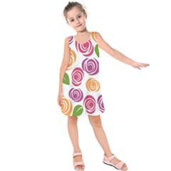 Colorful Seamless Floral Flowers Pattern Wallpaper Background Kids  Sleeveless Dress