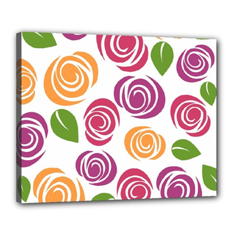 Colorful Seamless Floral Flowers Pattern Wallpaper Background Canvas 20  X 16