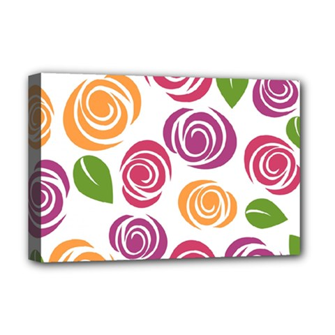Colorful Seamless Floral Flowers Pattern Wallpaper Background Deluxe Canvas 18  X 12