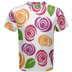 Colorful Seamless Floral Flowers Pattern Wallpaper Background Men s Cotton Tee