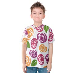 Colorful Seamless Floral Flowers Pattern Wallpaper Background Kids  Cotton Tee