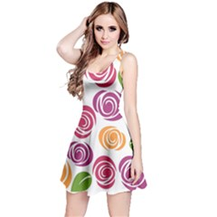 Colorful Seamless Floral Flowers Pattern Wallpaper Background Reversible Sleeveless Dress