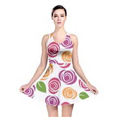 Colorful Seamless Floral Flowers Pattern Wallpaper Background Reversible Skater Dress