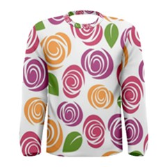 Colorful Seamless Floral Flowers Pattern Wallpaper Background Men s Long Sleeve Tee
