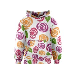 Colorful Seamless Floral Flowers Pattern Wallpaper Background Kids  Pullover Hoodie