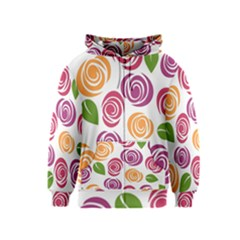 Colorful Seamless Floral Flowers Pattern Wallpaper Background Kids  Zipper Hoodie