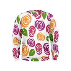 Colorful Seamless Floral Flowers Pattern Wallpaper Background Kids  Sweatshirt