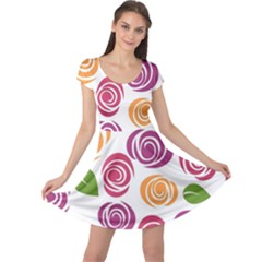 Colorful Seamless Floral Flowers Pattern Wallpaper Background Cap Sleeve Dresses