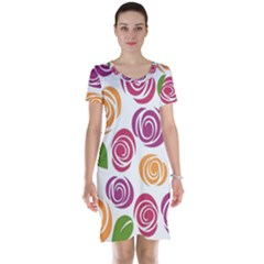 Colorful Seamless Floral Flowers Pattern Wallpaper Background Short Sleeve Nightdress