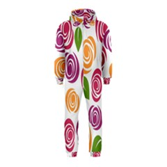 Colorful Seamless Floral Flowers Pattern Wallpaper Background Hooded Jumpsuit (Kids)