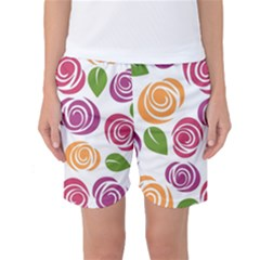 Colorful Seamless Floral Flowers Pattern Wallpaper Background Women s Basketball Shorts