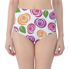 Colorful Seamless Floral Flowers Pattern Wallpaper Background High Waist Bikini Bottoms