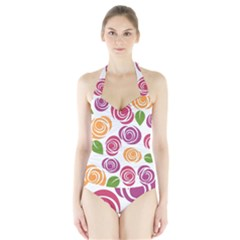 Colorful Seamless Floral Flowers Pattern Wallpaper Background Halter Swimsuit