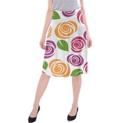 Colorful Seamless Floral Flowers Pattern Wallpaper Background Midi Beach Skirt