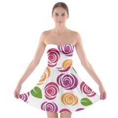 Colorful Seamless Floral Flowers Pattern Wallpaper Background Strapless Bra Top Dress