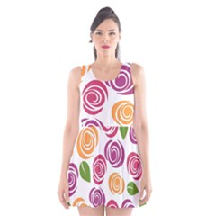 Colorful Seamless Floral Flowers Pattern Wallpaper Background Scoop Neck Skater Dress