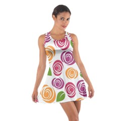 Colorful Seamless Floral Flowers Pattern Wallpaper Background Cotton Racerback Dress