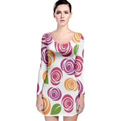 Colorful Seamless Floral Flowers Pattern Wallpaper Background Long Sleeve Velvet Bodycon Dress