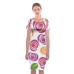 Colorful Seamless Floral Flowers Pattern Wallpaper Background Classic Short Sleeve Midi Dress