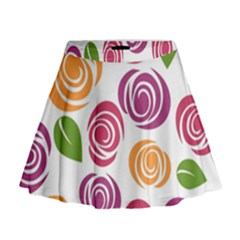 Colorful Seamless Floral Flowers Pattern Wallpaper Background Mini Flare Skirt