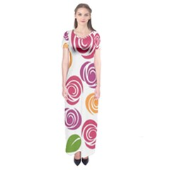 Colorful Seamless Floral Flowers Pattern Wallpaper Background Short Sleeve Maxi Dress