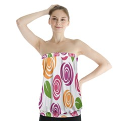 Colorful Seamless Floral Flowers Pattern Wallpaper Background Strapless Top