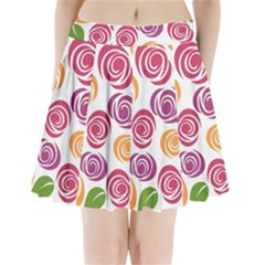 Colorful Seamless Floral Flowers Pattern Wallpaper Background Pleated Mini Skirt