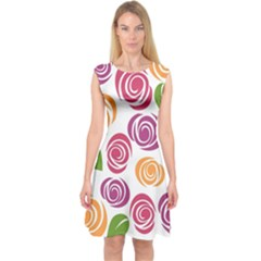 Colorful Seamless Floral Flowers Pattern Wallpaper Background Capsleeve Midi Dress