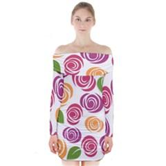 Colorful Seamless Floral Flowers Pattern Wallpaper Background Long Sleeve Off Shoulder Dress