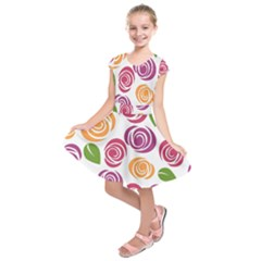 Colorful Seamless Floral Flowers Pattern Wallpaper Background Kids  Short Sleeve Dress