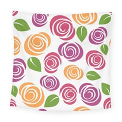 Colorful Seamless Floral Flowers Pattern Wallpaper Background Square Tapestry (large)