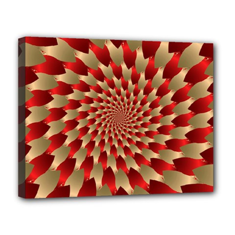 Fractal Red Petal Spiral Canvas 14  X 11