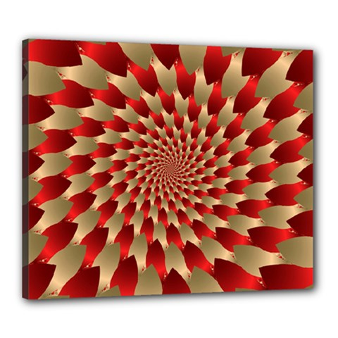 Fractal Red Petal Spiral Canvas 24  x 20