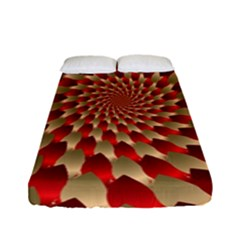 Fractal Red Petal Spiral Fitted Sheet (full/ Double Size)