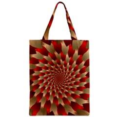 Fractal Red Petal Spiral Zipper Classic Tote Bag