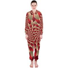 Fractal Red Petal Spiral Hooded Jumpsuit (Ladies)