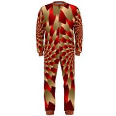Fractal Red Petal Spiral Onepiece Jumpsuit (men)
