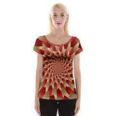 Fractal Red Petal Spiral Women s Cap Sleeve Top