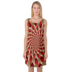 Fractal Red Petal Spiral Sleeveless Satin Nightdress