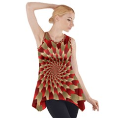 Fractal Red Petal Spiral Side Drop Tank Tunic