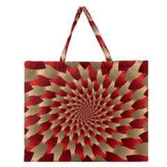 Fractal Red Petal Spiral Zipper Large Tote Bag